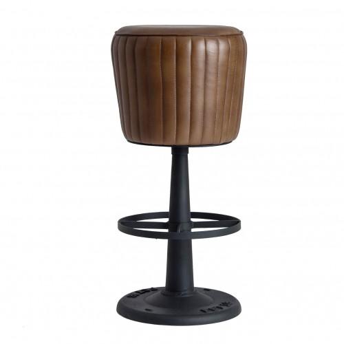TABURETE CHADRON hierro y cuero marrón estilo vintage
