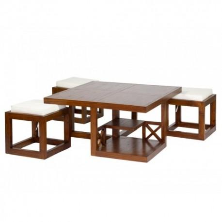 Mesa de centro forest 3 taburetes, en madera de mindi